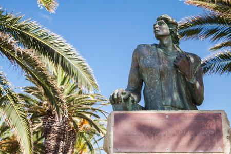 Vila Baleira, Portugal - August 18, 2017: Bronze statue of 16th-century explorer and navigator Christopher Columbus in Vila Baleira park on Porto Santo island