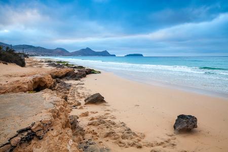 Sandstone rocks on the beach of Porto Santo island, Madeira archipelago, Portugal