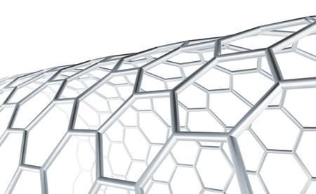 六角形の分子構造、白で分離された格子、3Dレンダー