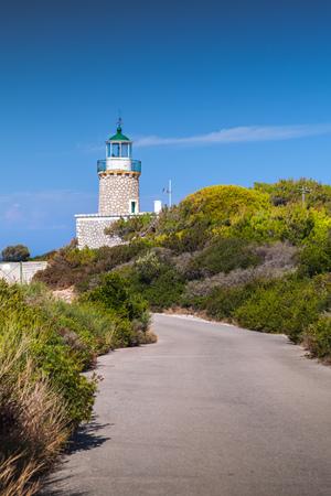 Skinari Lighthouse located in Zante island near Korithi above Cape Skinari. It was manufactured in 1897 Stock Photo