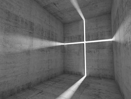 Abstract empty concrete interior, lighting cross on wall, Christianity conceptual background. 3d illustration Archivio Fotografico