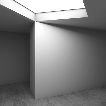 Abstracte hedendaagse architecturale achtergrond, lege kamer interieur. Betonnen vloer, witte muren en plafondlichtraam. Vierkante 3d geeft illustratie terug Stockfoto