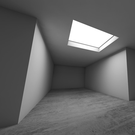 Abstract architectural background, empty room. Concrete floor, white walls and ceiling light window. Square 3d render illustration
