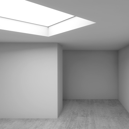 Abstract contemporary architectural background, empty white room interior. Concrete floor, walls and ceiling light window. Square 3d render illustration