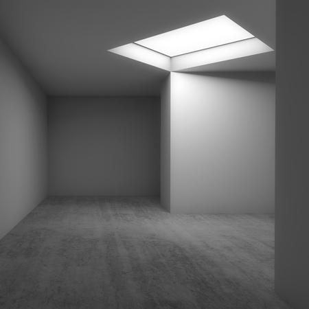 Abstracte eigentijdse architecturale achtergrond, leeg wit ruimtebinnenland. Betonnen vloer, muren en plafondlichtraam. Vierkante 3d illustratie