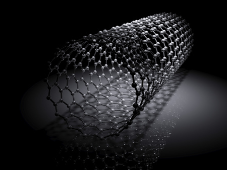 Carbon nanotubes molecular structure scheme, atoms of carbon connected in wrapped hexagonal lattice. 3d illustration on black background Фото со стока