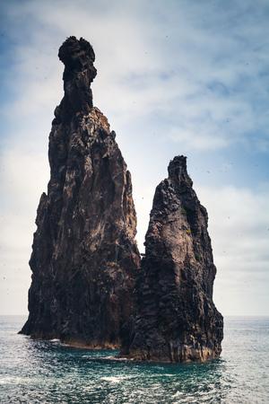 Tall rocky Islets of the Ribeira da Janela, natural landmarks of Madeira island, Portugal