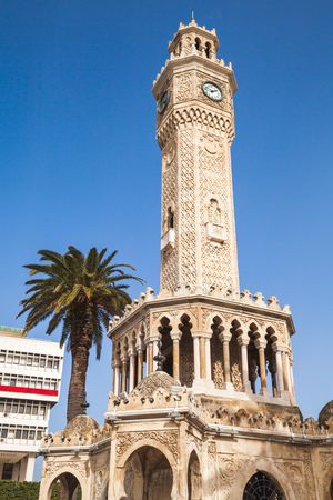 Clock tower on Konak Square, it was built in 1901 and accepted as the official symbol of Izmir City, Turkey