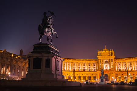 Statue of Archduke Charles at night. Heldenplatz square, Vienna, Austria. Designed by Anton Dominik Fernkorn in 1859