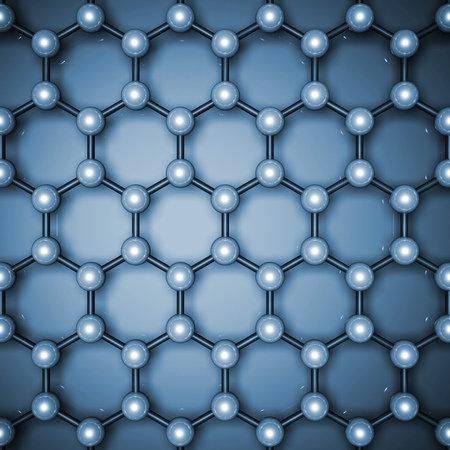 Graphene layer structure, top view. Blue toned hexagonal lattice of carbon atoms. 3d illustration