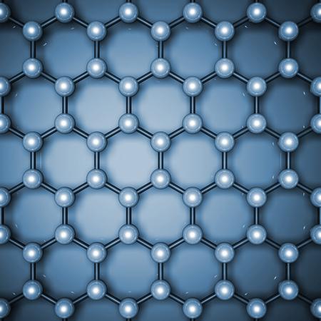 Graphene layer structure, top view. Blue toned hexagonal lattice of carbon atoms. 3d illustration