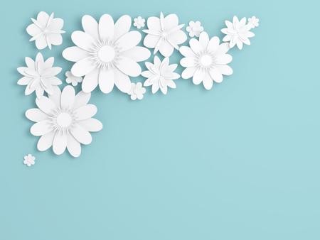 White paper flowers decoration over blue background, bridal greeting card, ornamental composition. Digital 3d render illustration