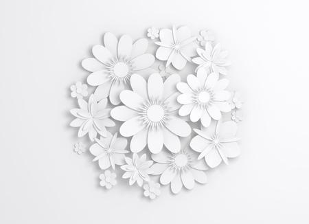 Round white paper flowers decoration, bridal greeting card, ornamental background. Digital 3d render illustration