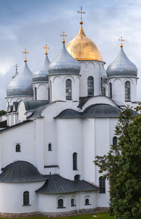 St. Sophia Cathedral under blue cloudy sky, Novgorod, Russia. It was built in 1045-1050
