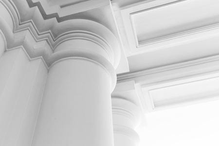 Round white columns with portico, abstract white classic interior fragment Banco de Imagens