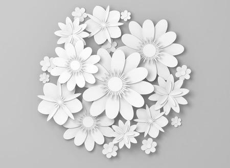 White paper flowers decoration on light gray backdrop, bridal greeting card, ornamental background. Digital 3d render illustration