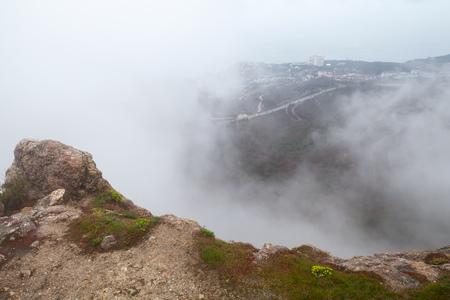 Mountain landscape of Foros in foggy morning. Crimea peninsula, Black Sea coast