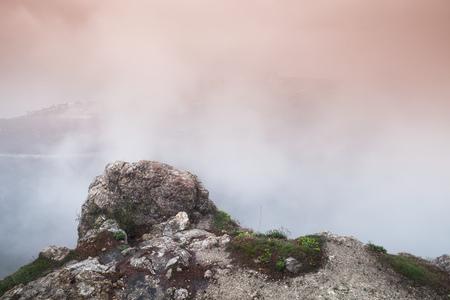 Mountain landscape of Foros in foggy spring morning. Crimea peninsula, Black Sea coast