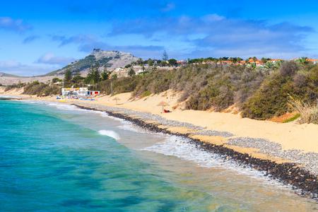 Vila Baleira. Coastal landscape of Porto Santo island in Madeira archipelago, Portugal
