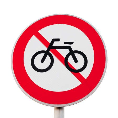 No bikes. Round road sign isolated on white background