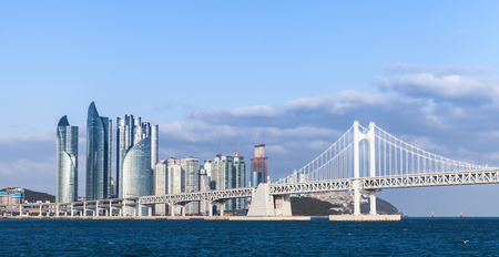 Haeundae District of Busan, South Korea. Skyline with Diamond Bridge Standard-Bild