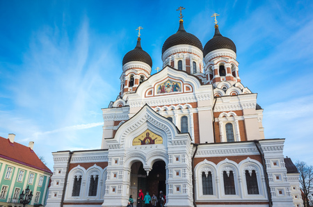 Tallinn, Estonia - December 31, 2017: Alexander Nevsky Cathedral is orthodox cathedral in Tallinn Old Town, Estonia. It was built to a design by Mikhail Preobrazhensky 1894 and 1900