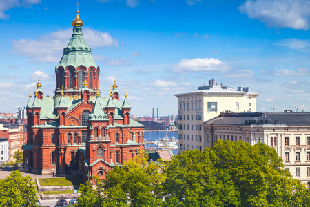 Uspenski Cathedral. Eastern Orthodox cathedral in Helsinki, Finland, dedicated to the Dormition of the Theotokos, was built in 1862-1868