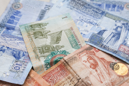 Jordanian dinars banknotes with kings portraits, close-up background photo Фото со стока