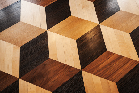 Classic  wooden parquet pattern, volume cubes illusion. Flooring background texture