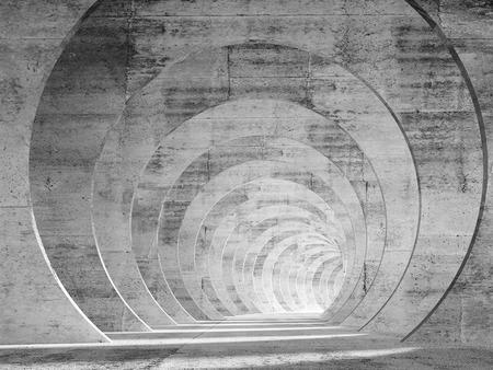 Innenraum des abstrakten leeren Betontunnels mit perspektivischem Effekt. 3D-Renderillustration