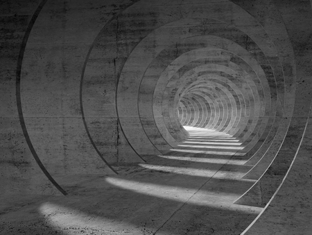 Abstract concrete tunnel interior, perspective view. 3d illustration Standard-Bild