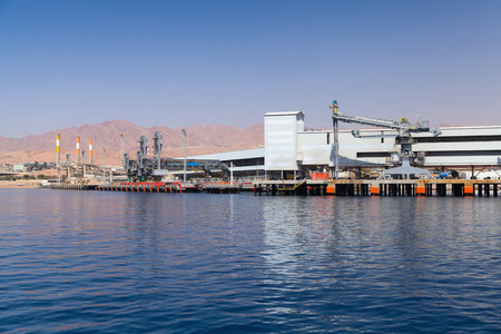 Aqaba port, new cargo terminal with crane, Gulf of Aqaba, Hashemite Kingdom of Jordan Editorial