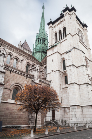 Saint Peters Cathedral in Geneva, Switzerland, vertical photo