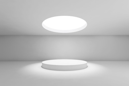 Abstract white minimal interior background, showroom with round ceiling light and table under it. Front view. 3d render illustration