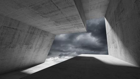 Empty dark concrete interior with stormy dramatic sky behind the window. Modern minimalist architecture background, 3d render illustration