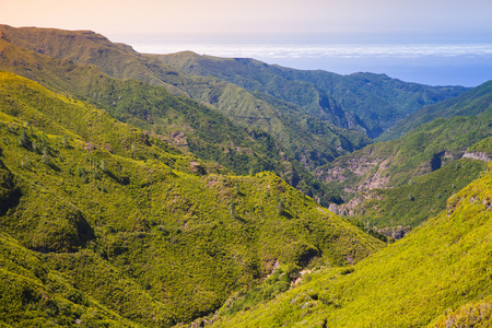 Mountain landscape of Madeira in summertime, Portugal Stock Photo