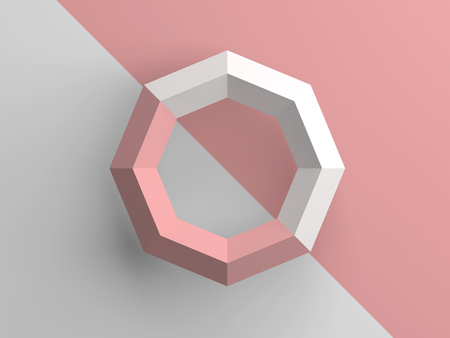 Objeto abstracto de baja poli con partes rosadas y blancas, ilustración de render 3d Foto de archivo