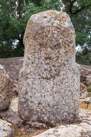 Prehistoric stone statue in Filitosa, megalithic site in southern Corsica, France