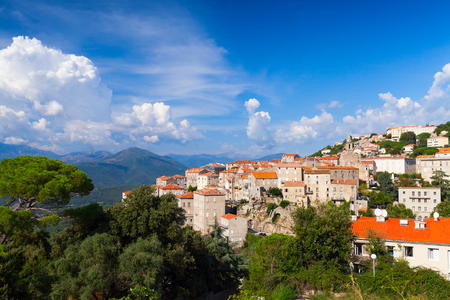 Sartene town summer landscape, South Corsica, France Stock Photo