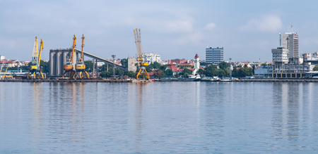 Burgas cargo port landscape in summer day. Panoramic photo 写真素材
