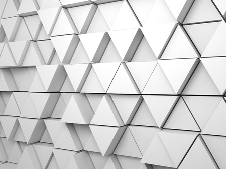 Abstract white background pattern with regular extruded triangles pattern on wall, 3d render illustration