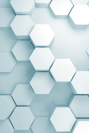 Abstract digital background with random extruded hexagon pattern on wall, vertical 3d render illustration