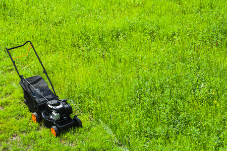Modern gasoline powered grass mower stands on fresh green lawn in summer garden, top view