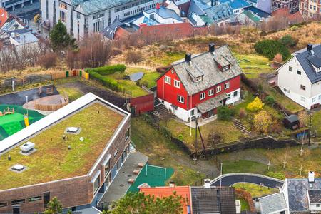 Aerial view of Norwegian town. Bergen, Norway