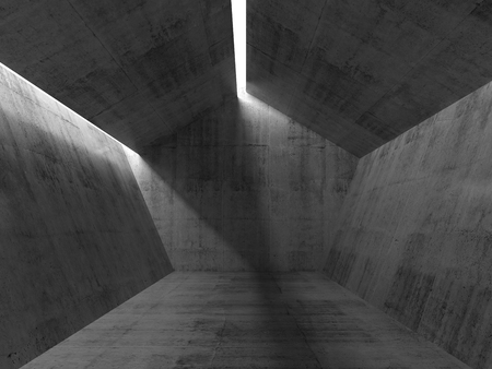 Pentagon concrete interior with ceiling light lines. 3d render illustration Stok Fotoğraf