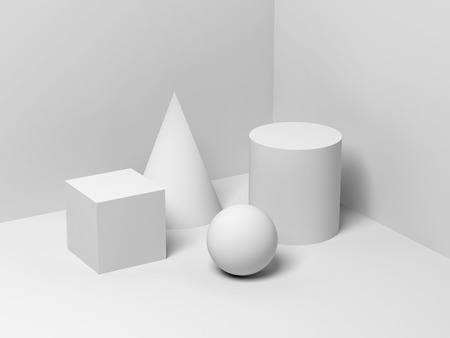 Abstract still life installation with white primitive geometric shapes. 3d render illustration