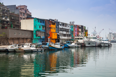 Keelung, Taiwan - September 5, 2018: Fishing harbor landscape, old colorful houses placed along the coast 에디토리얼