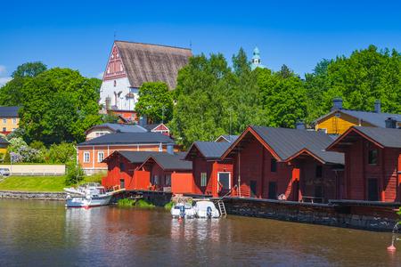 Historical part of Porvoo town, Finland. Summer landscape