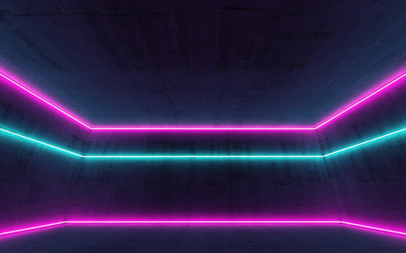 Abstract empty dark interior background with colorful neon light lines, 3d render illustration