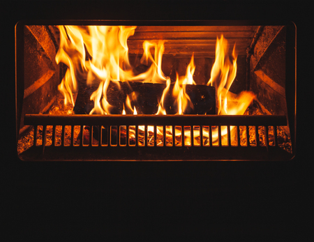 Firewood burns in the fireplace with a bright flame behind closed glass door